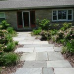 Staggered Bluestone Walkway with Knockout Rainbow Roses