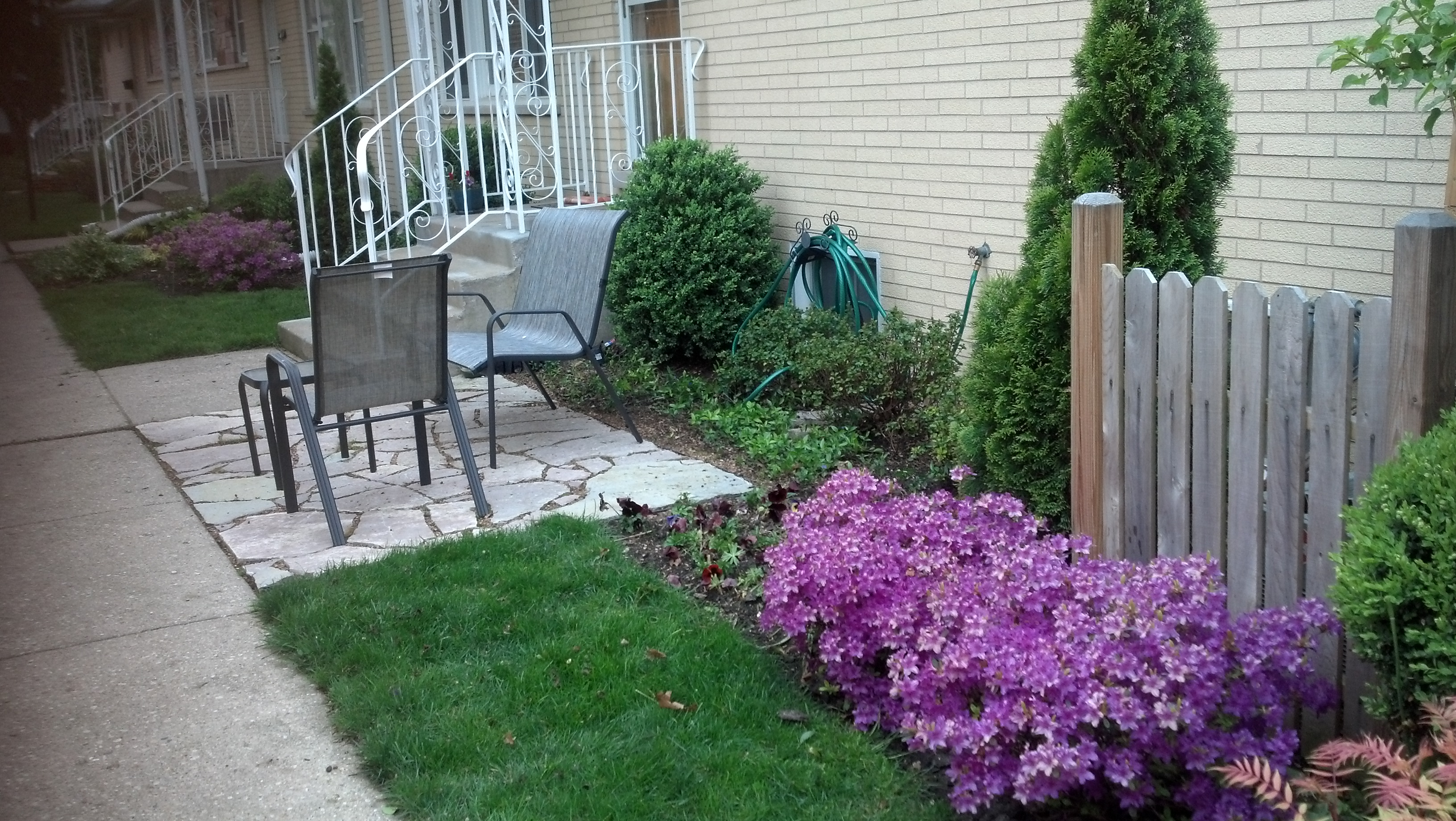 Air Conditioner Screen, Small Patio, Azaleas Blooming