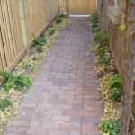 Boral Clay Paver Sidewalk to alley, New Fence, Plantings