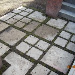 Re-Used Pavers and Moss Make a Small Patio