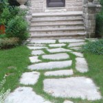 Large Flagstones spaced with sod between creates a natural looking front walk in the NE Evanston historic district