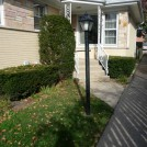 Townhouse Front Before has Yews and Lawn