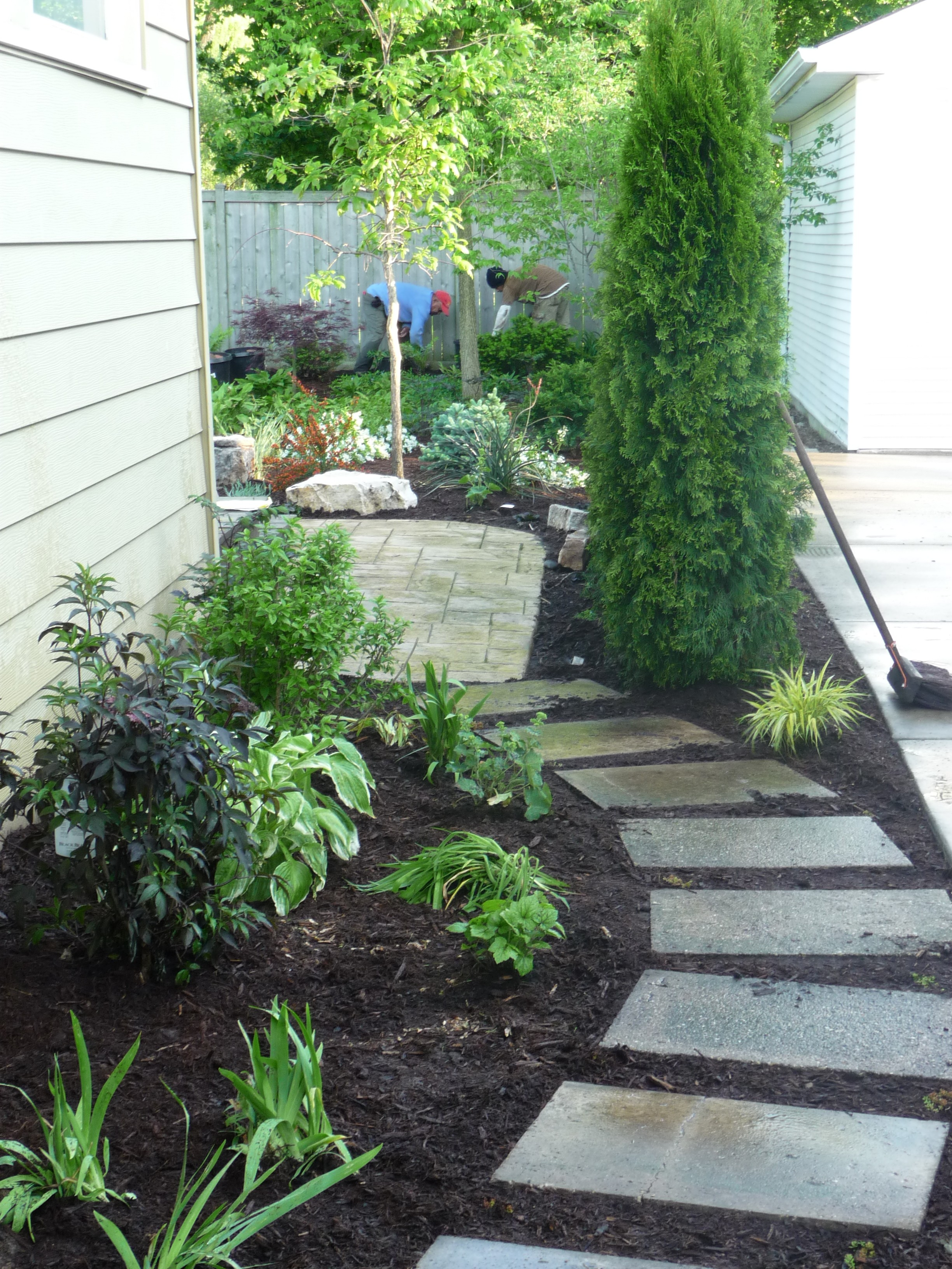 re used concrete pavers for side path