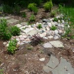 Mini Rain Garden Or Vegetative Swale Takes the Downspout Water