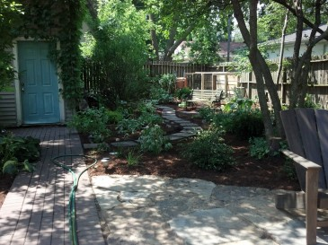 From Weeds and Debris to Winding Path, Restful Garden and Compost Bins